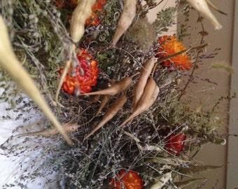"dried flower wreath, 22 "" diameter"