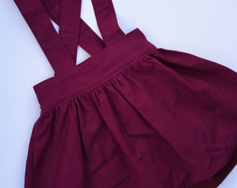 Gorgeous Maroon / Burgundy Suspender Skirt / Pinafore Skirt for Baby / Toddler Girls - Sizes 0 - 8