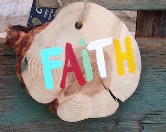Rustic Log Slice Christmas Ornament; Faith Ornament; Rustic Christmas Decor