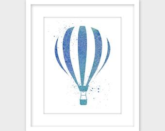 Hot Air Balloon Blue Watercolor Splatter Art Print, Printable Wall Art, Instant Digital Download, Nursery Decor