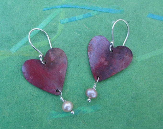 red copper heart earrings with freshwater pearl and sterling silver ear wires