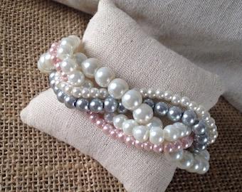 Braided cuff, ivory pearl bracelet, bridesmaids bracelet, pearl bracelet, pink pearl bracelet, elegant bracelet, ivory pink gray pearl