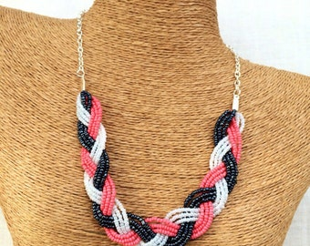 Coral braided bib, coral navy white necklace, coral navy necklace, nautical bridesmaids, coral bib necklace, nautical necklace, nautical bib