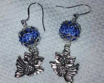 Blue ball owl earrings