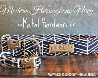 "Dog Collar+optional bff bracelet""Modern Herringbone Navy""Upgraded metal hardware-FREE SHIPPING|leave EXACT wrist measurement no wiggle room*"