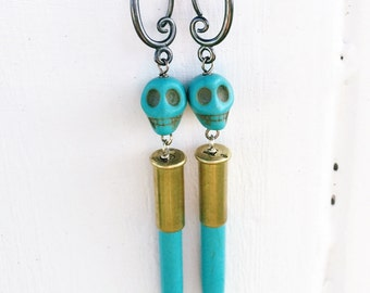 Turquoise .22 Skull Earrings