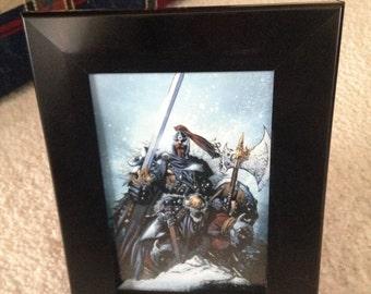 Framed Viking warrior photo in black. For all true Minnesota Viking fans.
