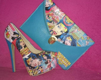 Wonderwoman shoes High Heels and Matching Clutch Bag