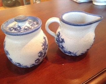 Vintage Dorchester Pottery Creamer and Sugar Bowl