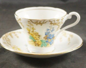 AYNSLEY Fine Bone China Cup & Saucer BLUE with YELLOW Flowers