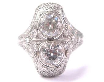 Platinum Art Deco Vintage Old European Cut Diamond Ring 3.35CT