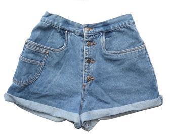 "VTG 80s Cristina MEDIUM WASH High Waist Rise Cuffed Denim Jean Shorts M/L 29"" Waist"
