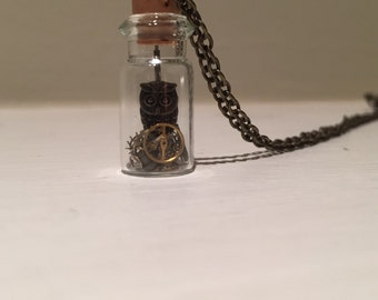 Small Steampunk Owl Necklace