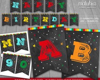 Chalkboard Birthday Banner - INSTANT DOWNLOAD - Chalkboard Digital Printable - Chalkboard Happy Birthday Boy Pennant