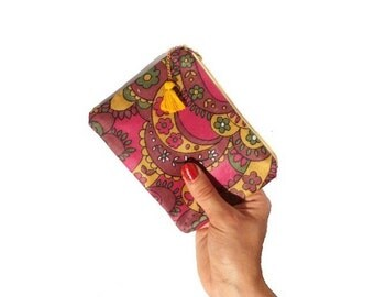 Vintage pattern, zipper pouch, make up bag, coin purse, gadget case , mini wallet, accessory pouch ,red, yellow, Birthday Party Favor