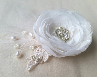 Ivory bridal fascinator bridal hair flower bridal hairpiece wedding headpiece lace hairpiece
