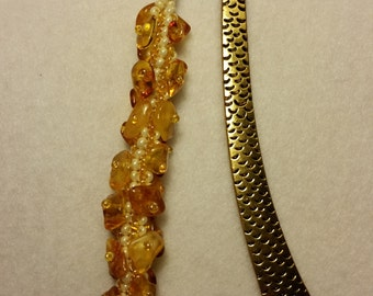 Unique Handmade Bookmark with Baltic Amber