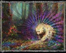 Spirit Bear - Blanket. Totem Animal Inspired Visionary Art. Home Decor