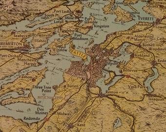 Vintage Litho Travel Print of Northwest Washington Area 1950's