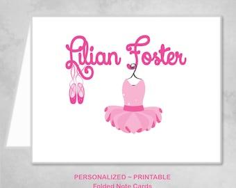 Personalized Printable Ballerina Ballet Dancer Pink Thank You Note Cards Children Kids Girl Pink Ballet Birthday Party Thank You Cards ~ DIY