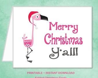 Printable Pink Flamingo Christmas Card Southern Merry Christmas Y'all Family Girl Christmas Card - DIY Instant Download Christmas Card