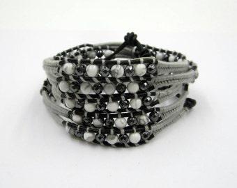Bracelet Wrap beads semi precious made hand