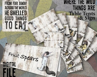 Where the Wild Things Are Theme Table Tents & Table Signs