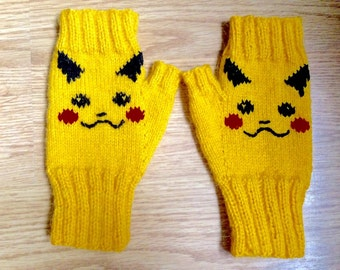 Pikachu Pokemon inspired Fingerless Gloves, Knitted Mittens, Made To Order.
