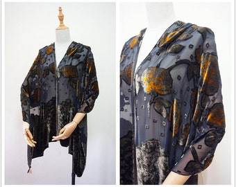 Pierre Cardin silk velvet women shawl.Vintage gray orange floral print wrap.Antique French shawl.Free shipping.P169124