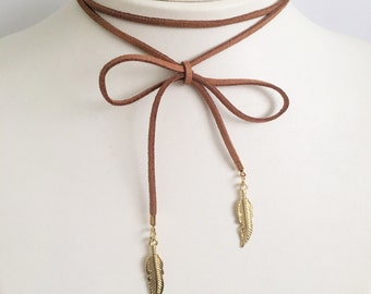 Brown Knotted Gold Leaf Choker