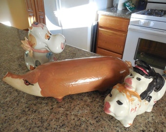 3 Heavy Pottery Animals Cow Pig & Boy plus Girl Pig Mating Very Heavy