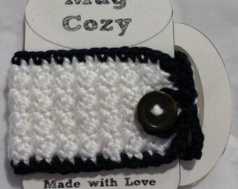 Mug Cozy - White with black trim