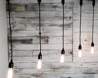 Pevensy : Handmade Pendant Light with five fittings for E27 Edison Screw Bulbs