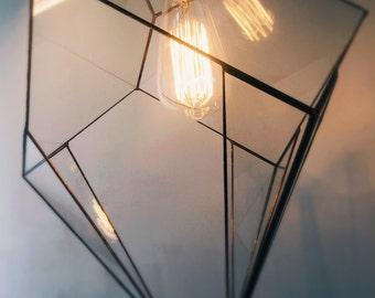 Geometric pendant lamp. Glass facets. Edison bulb. Art Déco style, industrial.