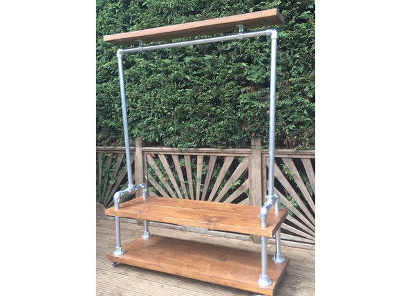 Industrial Style Clothes Rail Double Base