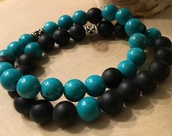 Stackable Onyx & Turquoise Gemstone Bead Bracelets