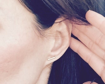 Shiny Gold Stud Bar Earrings
