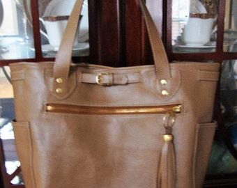 Taupe Leather Bucket Handbag with Tassel