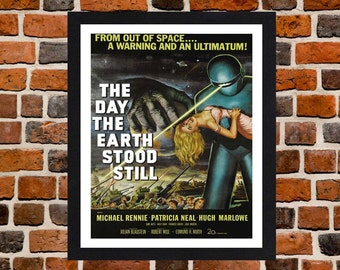 Framed The Day The Earth Stood Still Movie / Film Poster A3 Size Mounted In Black Or White Frame