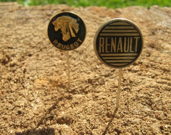 2 Automobile (Car) Renault and Peugeot vintage pin