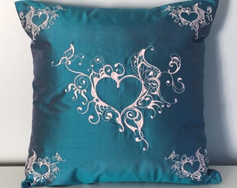 "Teal Blue 100% Silk Pillow cover for 16"" 16"" pillow"