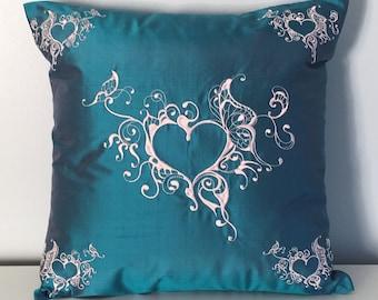 "Teal Blue 100% Silk Pillow cover for 16"" 16"" pillow"