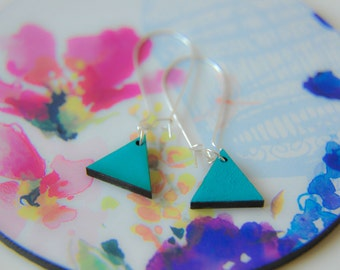 Geometric Aqua Pendent Silver Earrings