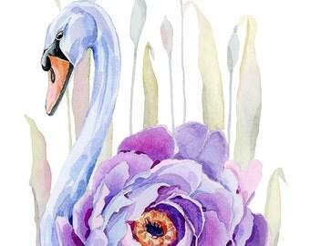 Lilac Swan Watercolour Art print, Nursery print, Swan lover gift, Swan print, Home decor, Nursery decor, Girls room decor, Girls room