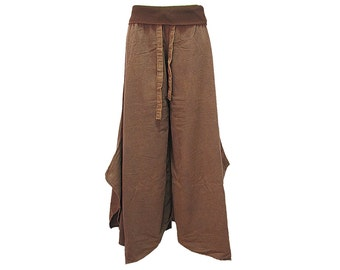 Boho Hippie Wide Leg Fold Waist Long Gaucho Cotton Pants (F0853)