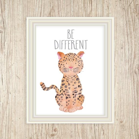 Safari Nursery Art, Jungle Animals, Jungle Safari Art, Leopard Art Print, Be Different, Zoo Nursery Prints, Baby Animals Nursery Animals