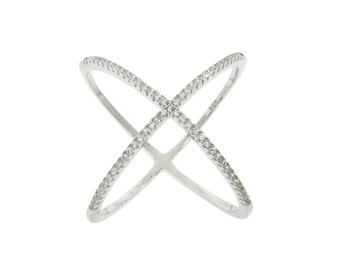 "Sterling Silver Pavé ""X"" Ring"