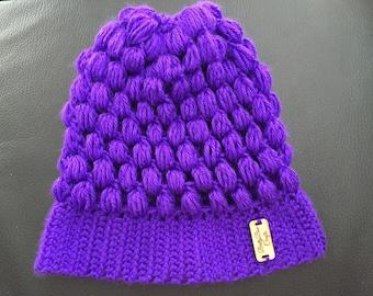 Child's Purple Puff Beanie
