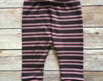 Baby Girl Striped Upcycled Leggings - Size 3-6 Months - Ready to Ship