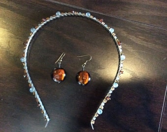 Headband with matching handmade earrings